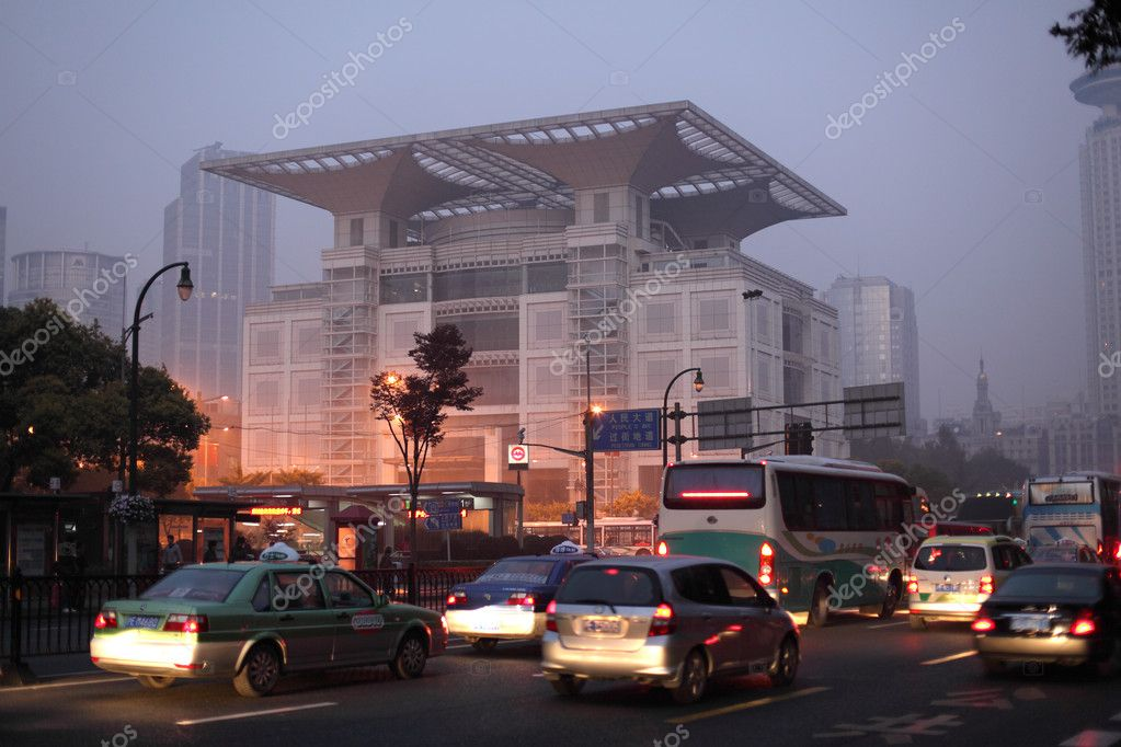 Shanghai Urban Planning Exhibition Hall in the morning, Shanghai China. Photo taken at 20th of November 2010 — Stock Photo #9340836