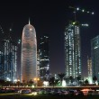 Doha downtown West Bay at night, Qatar, Middle East — Foto Stock