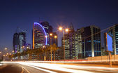 Street in Doha downtown at night, Qatar — Stock Photo