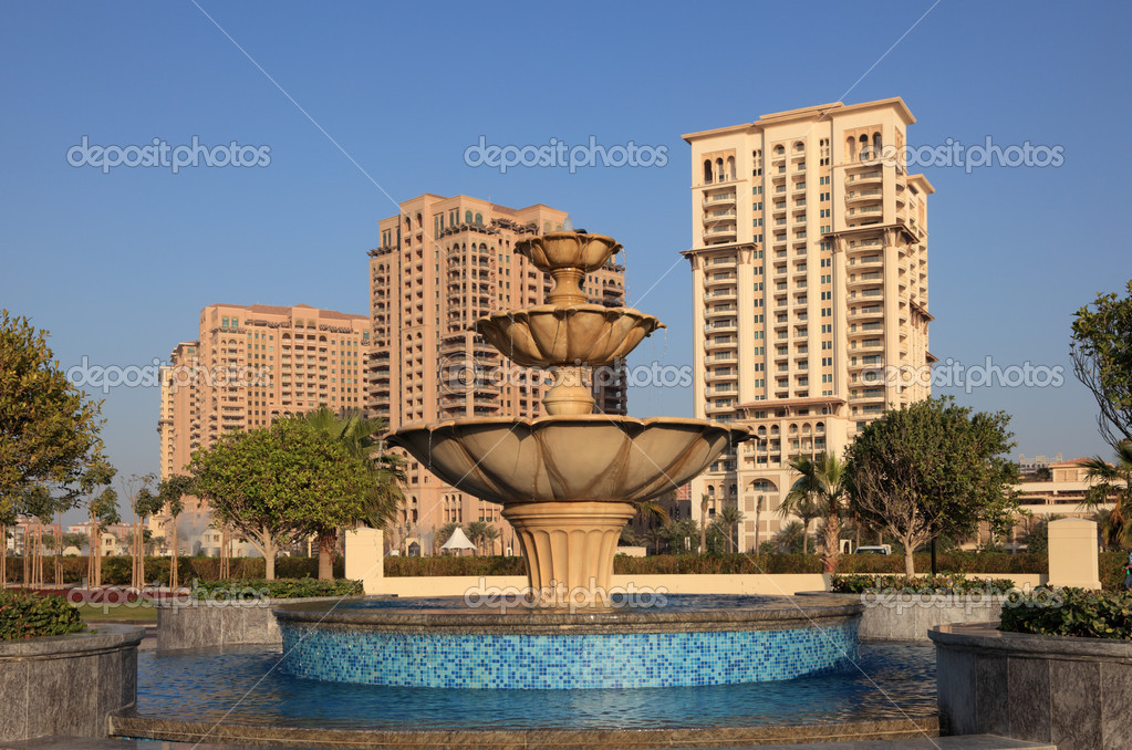 Fountain at The Pearl in Doha, Qatar, Middle East — Stock Photo #9441155