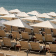 Sunlounger on the beach in Cannes, southern France — Stock Photo