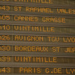 Departures board in the trainstation of Nice, France — Stock Photo