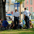 Police checking young for drugs, Nice, France - Stock Photo
