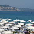 Stock Photo: Sunlounger on beach in Cannes, southern France