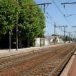 Train station in french town — Stock Photo
