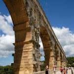 Roman aqueduct Pont du Gard in southern France — Stock Photo
