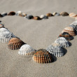 Heart made of shells in the sand — Stock Photo #9453501