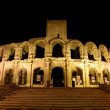Roman Arena illuminated at night, Arles southern France — Stock Photo