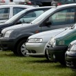 Stock Photo: Cars parked on meadow