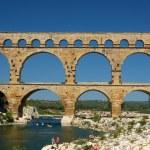 Roman aqueduct Pont du Gard in France — Stock Photo