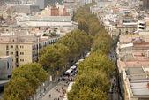 Luchtfoto van la rambla, barcelona spanje — Stockfoto