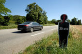 Silhouette of a 30 years old person killed in an accident on the road in France — Stock Photo