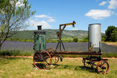 Old distill machine and lavender field in the Provence, France — Stock Photo