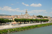 Medieval town at Rhone river in the Provence, France — Stock Photo