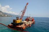 Cargo boat with crane — Stock Photo