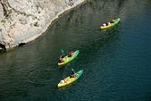 Kayaking on river Gard in southern France near Nimes — Stock Photo