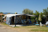 Caravan on camping in southern France — Stock Photo