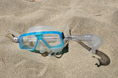Snorkeling mask on the beach — Stock Photo