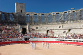 Bullfight show in the Roman Arena of Arles, France — Stock Photo