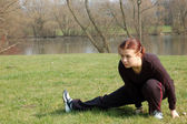 Teenage Girl Stretching — Stock Photo