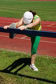 Donna senior attiva lo stretching — Foto Stock