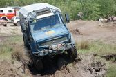 Mercedes Benz Unimog rally truck at offroad competition — Stock Photo