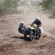 rally motorcycle with sidecar at offroad competition — Stock Photo