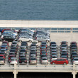 New cars parked at port — 图库照片