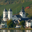 Stock Photo: Village and white Curch at Rhine River, Germany