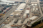 Aerial view of industrial port — Stock Photo