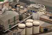 Aerial view of industrial buildings — Stock Photo