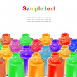 Bottles with spilled nail polish over white background — Stock Photo