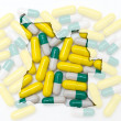 Outline map of angola with pills in the background for health an — Stock Photo