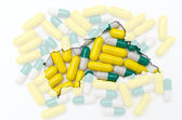 Outline map of central african republic with pills in the backgr — Stock Photo