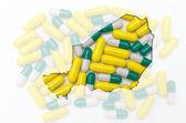 Mapa de contorno de níger con pastillas en el fondo para la salud y — Foto de Stock