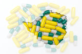 Outline map of zimbabwe with pills in the background for health — Stock Photo