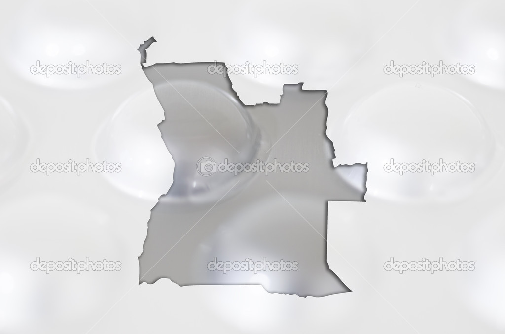 Outline angola map with transparent background of capsules symbolizing pharmacy and medicine — Stock Photo #10109862
