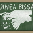 Outline map of guinea bissau on blackboard — Foto Stock