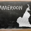 Outline map of cameroon on blackboard — Stock Photo