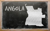 Outline map of angola on blackboard — Stok fotoğraf
