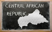 Outline map of central african republic on blackboard — Stock Photo