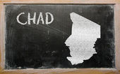Outline map of chad on blackboard — Zdjęcie stockowe