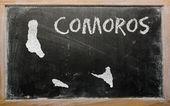 黑板上的科摩罗大纲地图 — 图库照片