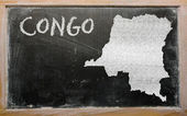 Outline map of congo on blackboard — Stock Photo