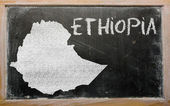 Outline map of ethiopia on blackboard — Zdjęcie stockowe