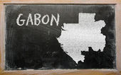 Outline map of gabon on blackboard — Stock Photo