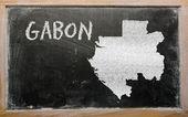 Carte muette du gabon sur tableau noir — Photo