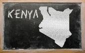 Outline map of kenya on blackboard — Stock Photo