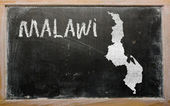 Outline map of malawi on blackboard — 图库照片