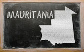 Outline map of mauritania on blackboard — Stockfoto
